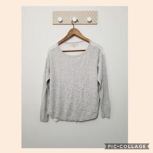 LOFT crew neck sweater gray and white size XS